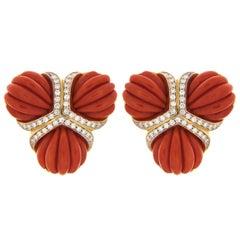 Valentin Magro Dark Red Coral Diamond Triple Fan Earrings