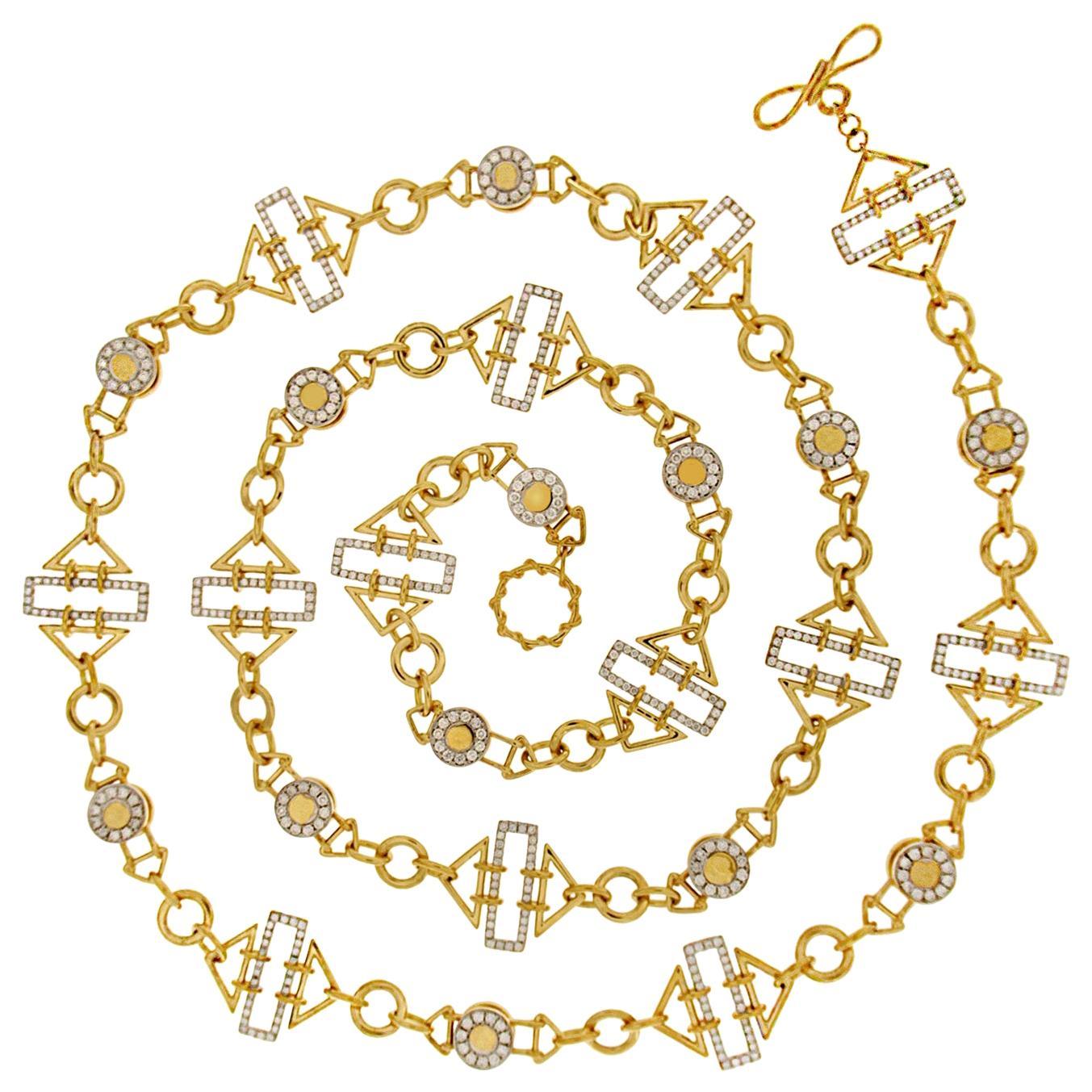 Valentin Magro Diamond 18 Karat Yellow Gold Geometric Chain Necklace