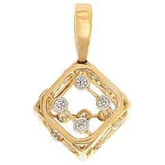 Valentin Magro Diamond and 14 Karat Yellow Gold Die Pendant