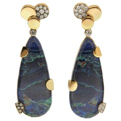 Valentin Magro Diamond Circle Chrysocolla Malachite Drop Earrings