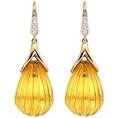 Valentin Magro Diamond Citrine Fluted Drop Earrings