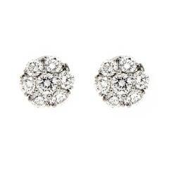 Valentin Magro Diamond Cluster Platinum Earrings