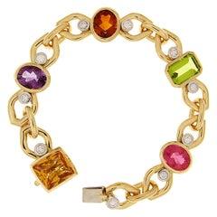 Valentin Magro Diamond Gemstone Link Bracelet