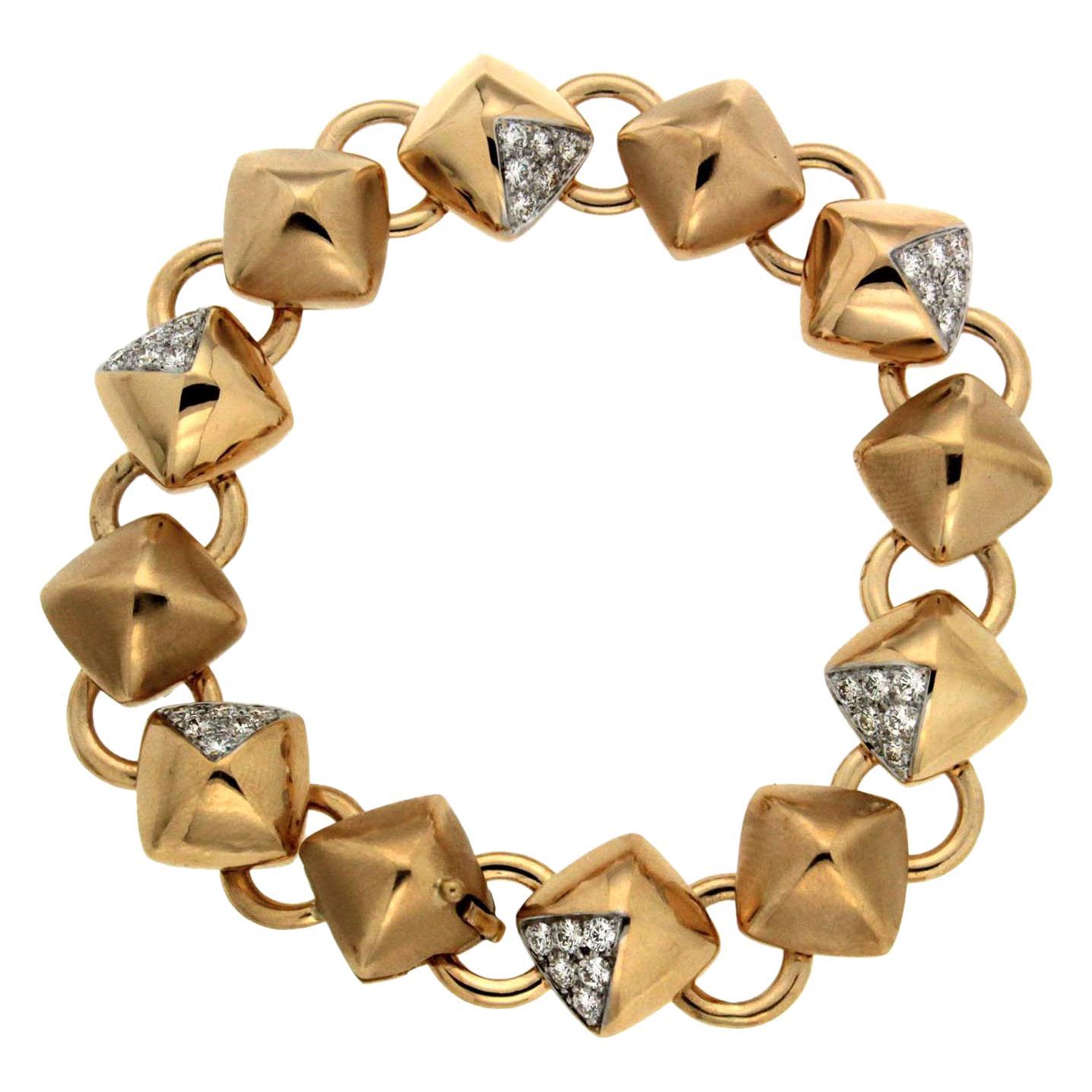 Valentin Magro Diamond Gold Cushion Pyramid Link Bracelet