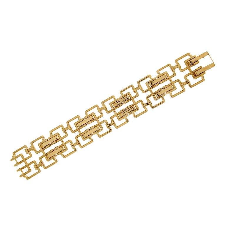 Round Cut Valentin Magro Diamond Gold Square Link Bracelet For Sale