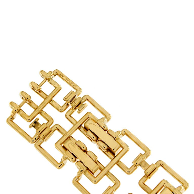 Valentin Magro Diamond Gold Square Link Bracelet In New Condition For Sale In New York, NY