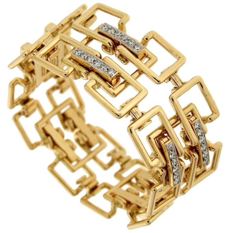 Valentin Magro Diamond Gold Square Link Bracelet For Sale