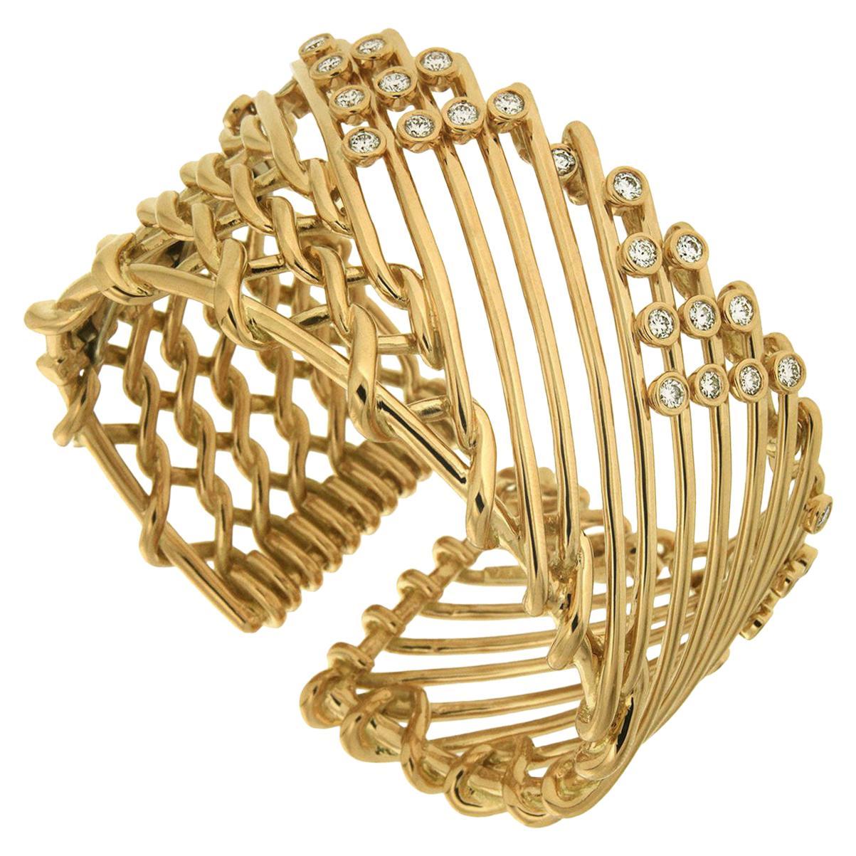 Valentin Magro Diamond Gold Triangular Motif Netting Bracelet