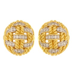 Valentin Magro Diamond Gold Woven Rope Earrings