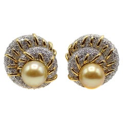 Valentin Magro Diamond Golden Pearl Platinum 18 Karat Gold Ear-Clips