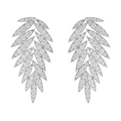 Valentin Magro Diamond Leaf Earrings in White Gold
