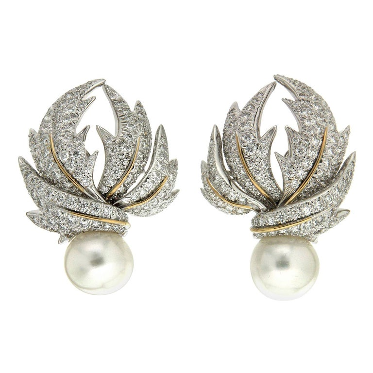 Valentin Magro Diamond Pave Multi-Leaf Earrings For Sale