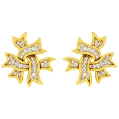 Valentin Magro Diamond Ribbon Earrings in Gold and Platinum