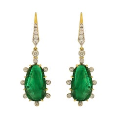Valentin Magro Diamond Special Cut Emerald Drop Earrings