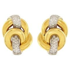 Valentin Magro Diamond Yellow Gold Knot Earrings