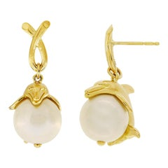 Valentin Magro Dolphin Grabbing a South Sea Pearl Earrings