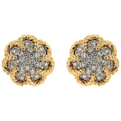 Valentin Magro Dome Diamond Yellow Gold Platinum Twisted Wire Earrings