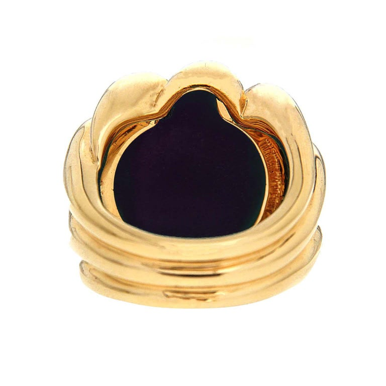 Women's Valentin Magro Dome Pave Ring with Black Onyx in Yellow Gold For Sale