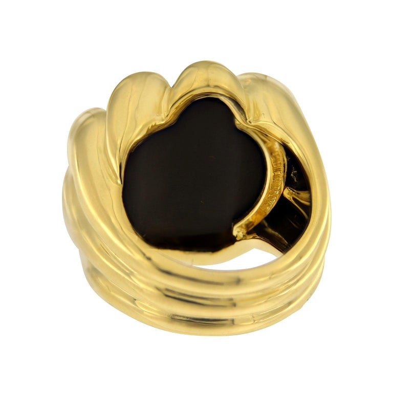 Valentin Magro Dome Pave Ring with Black Onyx in Yellow Gold For Sale 1