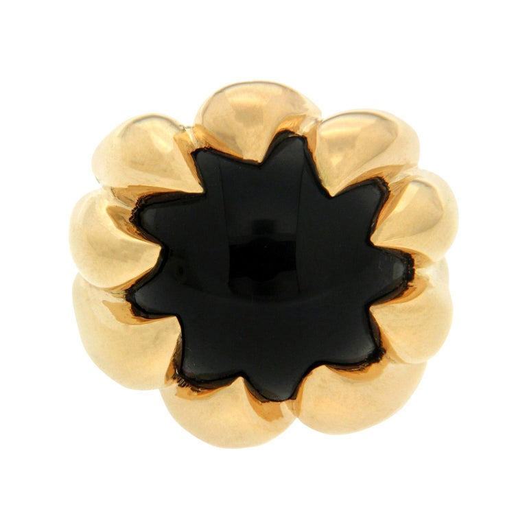 Valentin Magro Dome Pave Ring with Black Onyx in Yellow Gold For Sale