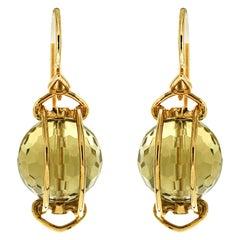 Valentin Magro Doppio Faceted Lemon Quartz Gold Earrings