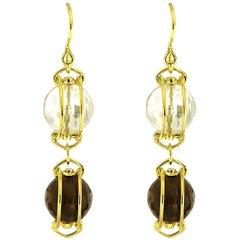 Valentin Magro Doppio Yellow Gold Smokey Topaz Crystal Dangling Drop Earrings
