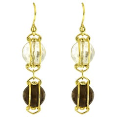 Valentin Magro Doppio Yellow Gold Smokey Topaz Crystal Dangling Drop Earrings
