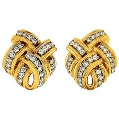 Valentin Magro Double Criss Cross Diamond Yellow Gold Earrings