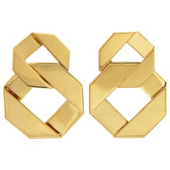 Valentin Magro Double Fold over Link Gold Earrings