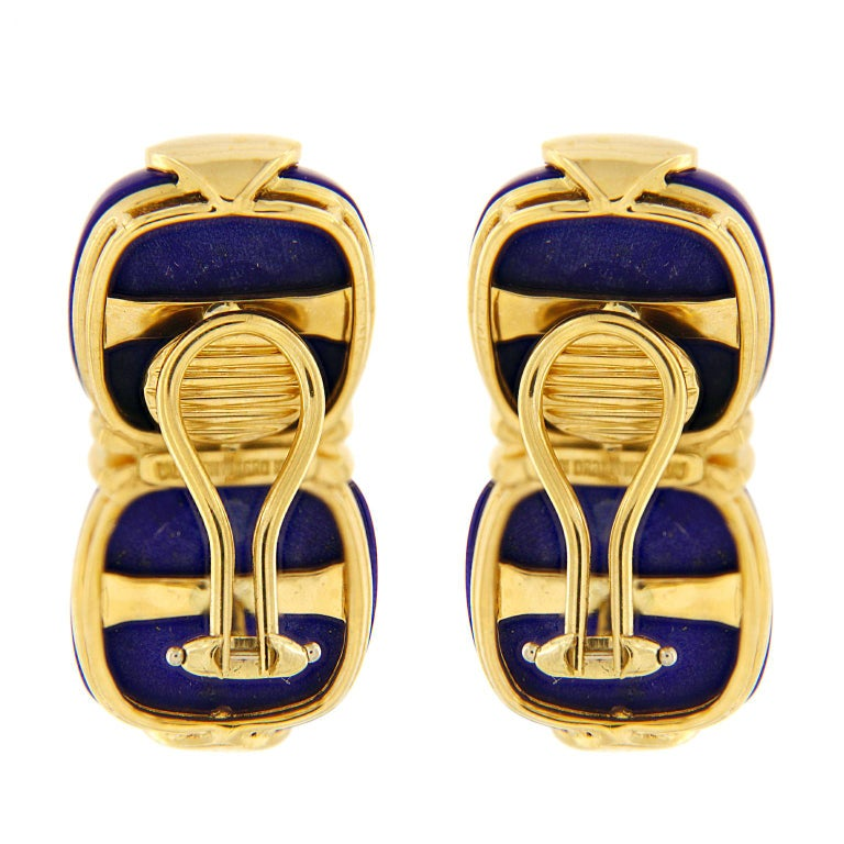 Modern Valentin Magro Double Lapis Cushion Cabochon Earrings For Sale