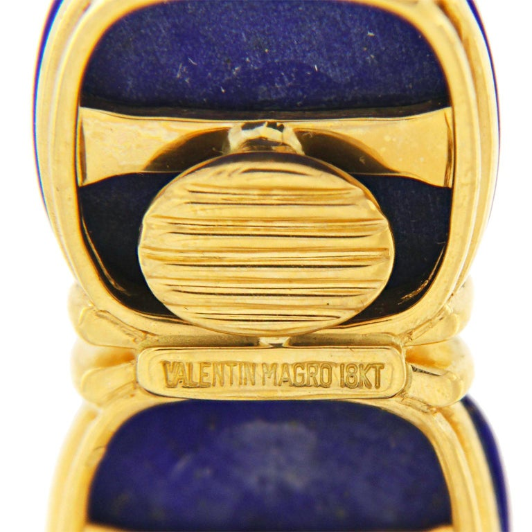 Valentin Magro Double Lapis Cushion Cabochon Earrings In New Condition For Sale In New York, NY