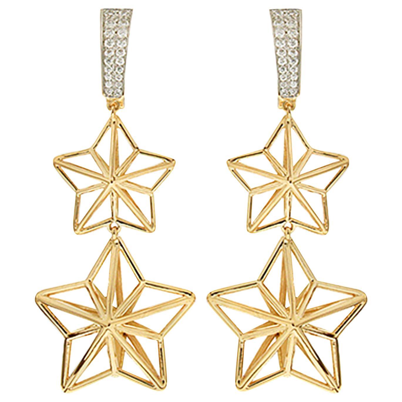 Valentin Magro Double Star Dangling Diamond Gold Earrings