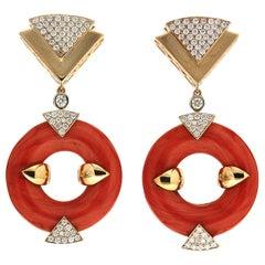 Valentin Magro Doughnut Coral Diamond Gold Triangle Motif Earrings