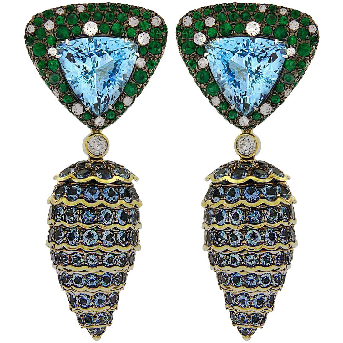 Valentin Magro Emerald, Aquamarine and Diamond Pine Cone Drop Earrings