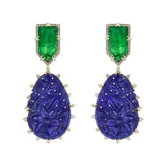 Valentin Magro Emerald Bullets and Sapphire Drop Earrings