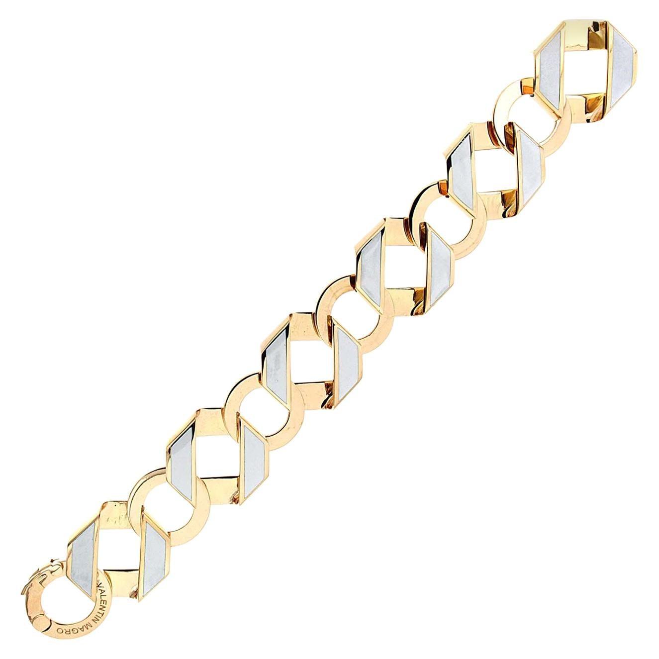 Valentin Magro Enamel Gold Fold over Medium Reversible Link Bracelet