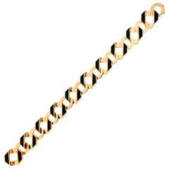 Valentin Magro Extra Small Black Enamel Fold over Gold Bracelet
