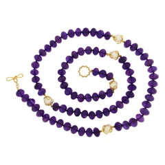 Valentin Magro Faceted Amethyst Roundelles with 5 Ciao Bella White Pearls