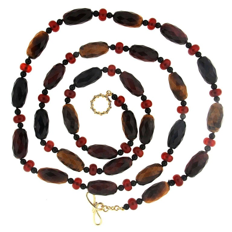 Valentin Magro Facetted Tiger Eye Carnelian Roundels Necklace