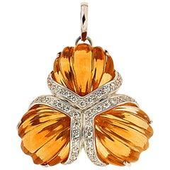 Valentin Magro Fan Carved Citrine and Diamond Pendant
