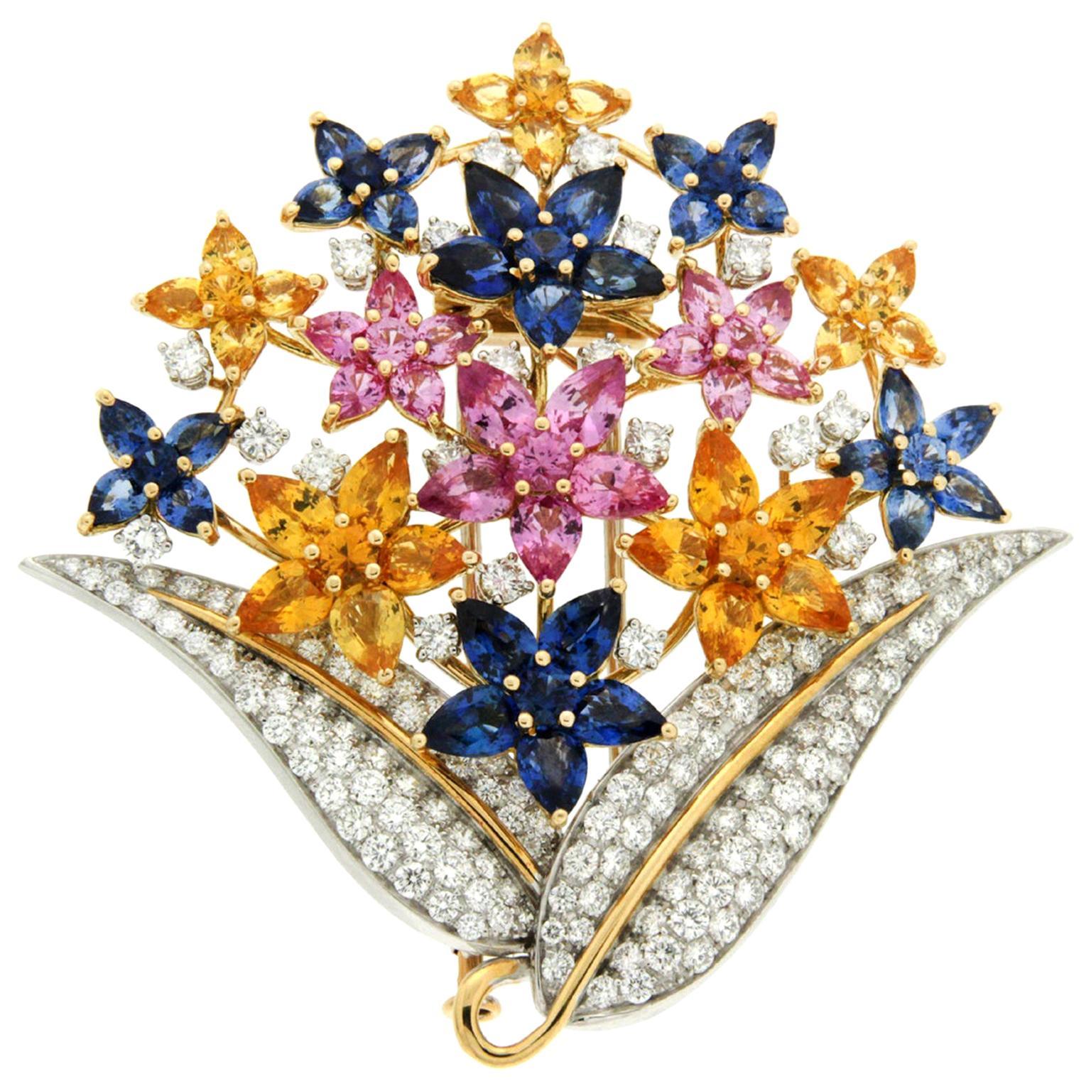 Valentin Magro Fiori di Lucia Colored Sapphires Diamond Gold Platinum Brooch