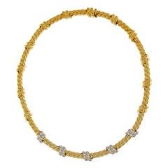 Valentin Magro Five Slanted Diamond Gold Necklace
