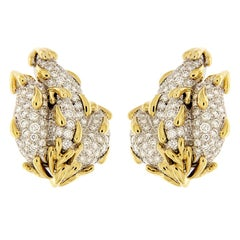 Valentin Magro Flame and Tear Drops Diamond Gold Platinum Earrings