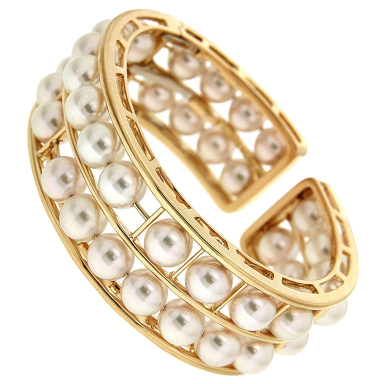 Valentin Magro Pearl 18 Karat Yellow Gold Cuff Bracelet For Sale