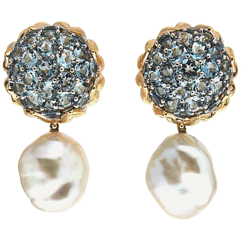 Valentin Magro Flower Bud Aquamarine Dome Pearl Drop Earrings