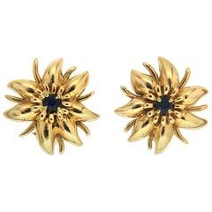 Valentin Magro Flower Petal Sapphire Yellow Gold Earrings