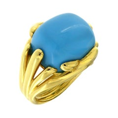 Valentin Magro Fluted Criss Cross Cushion Turquoise Sleeping Beauty Ring