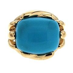 Valentin Magro Fluted Cushion Sleeping Beauty Turquoise Ring