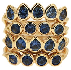 Valentin Magro Four-Band Blue Sapphire Gold Ring