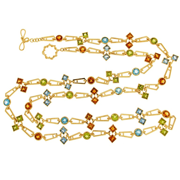 Valentin Magro Geometric Color Stone Chain Necklace In New Condition For Sale In New York, NY